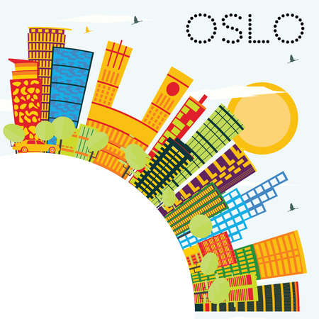 Oslo Skyline with Color Buildings, Blue Sky and Copy Space. Vector Illustration. Business Travel and Tourism Concept with Modern Architecture. Image for Presentation Banner Placard and Web Site.