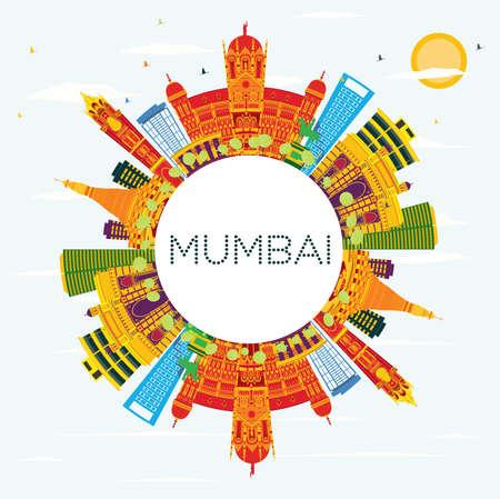 Mumbai India Skyline mit Farbgebäuden, blauem Himmel und Textfreiraum. Vektor-Illustration. Geschäftsreise- und Tourismuskonzept mit historischer Architektur. Standard-Bild - 85351377