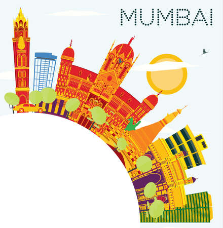 Mumbai India Skyline with Color Buildings, Blue Sky and Copy Space. Vector Illustration. Business Travel and Tourism Concept with Historic Architecture.