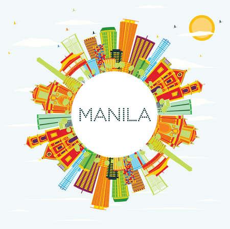 Skyline van Manilla met gekleurde gebouwen, blauwe hemel en kopie ruimte. Vector illustratie. Bedrijfsreis en toerismeconcept met moderne architectuur.