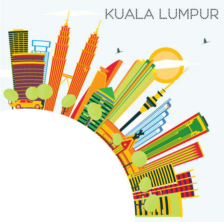Kuala Lumpur Skyline with Color Buildings, Blue Sky and Copy Space. Vector Illustration. Business Travel and Tourism Concept with Modern Architecture. Illustration