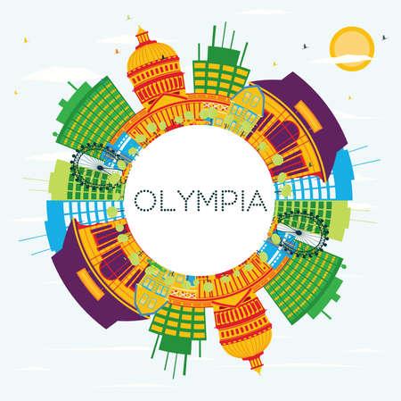 Olympia colorful skyline icon. Illustration