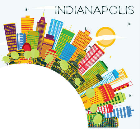 Indianapolis Skyline with Color Buildings, Blue Sky and Copy Space. Vector Illustration. Business Travel and Tourism Concept with Modern Buildings.