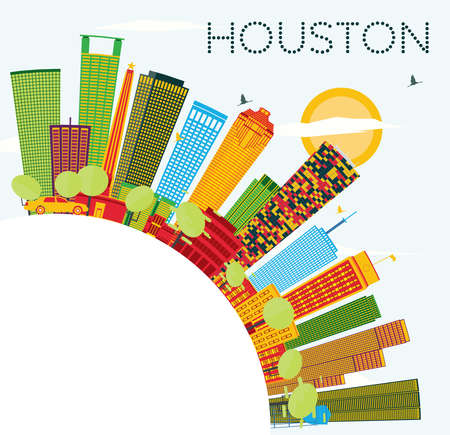 Houston Skyline with Color Buildings, Blue Sky and Copy Space. Vector Illustration. Business Travel and Tourism Concept with Modern Buildings.