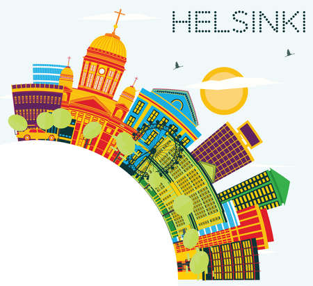 Helsinki Skyline with Color Buildings, Blue Sky and Copy Space. Vector Illustration. Business Travel and Tourism Concept with Historic Architecture. Image for Presentation Banner Placard and Web Site. Иллюстрация