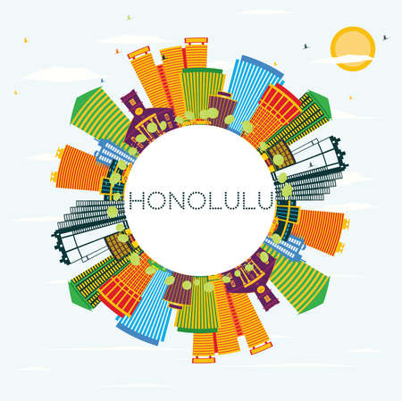 Honolulu Skyline with Color Buildings, Blue Sky and Copy Space. Vector Illustration. Business Travel and Tourism Concept with Modern Architecture. Image for Presentation Banner Placard and Web Site.