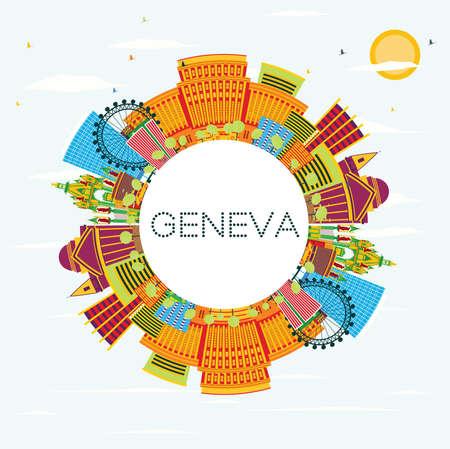 Horizonte de Ginebra con edificios de color, cielo azul y espacio de copia. Ilustración vectorial. Viajes de Negocios y Concepto de Turismo. Imagen para el cartel y el Web site de la bandera de la presentación. Ilustración de vector