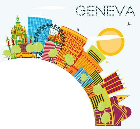 Horizonte de Ginebra con edificios de color, cielo azul y espacio de copia. Ilustración vectorial. Viajes de Negocios y Concepto de Turismo. Imagen para el cartel y el Web site de la bandera de la presentación.