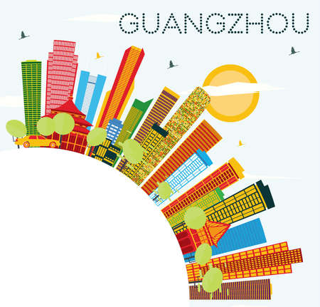 Guangzhou Skyline with Color Buildings, Blue Sky and Copy Space. Vector Illustration. Business Travel and Tourism Concept with Modern Architecture. Image for Presentation Banner Placard and Web Site. Illustration