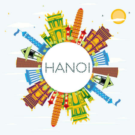 Hanoi Skyline with Color Buildings, Blue Sky and Copy Space. Vector Illustration. Business Travel and Tourism Concept with Historic Architecture. Image for Presentation Banner Placard and Web Site.