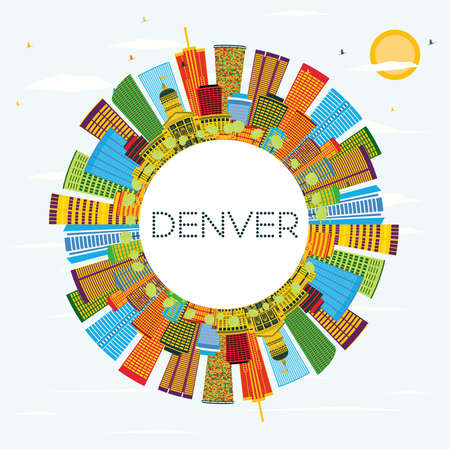 色の建物、青空とコピースペースとデンバーのスカイライン。ベクターイラスト。現代建築とビジネス旅行と観光のコンセプト。  イラスト・ベクター素材