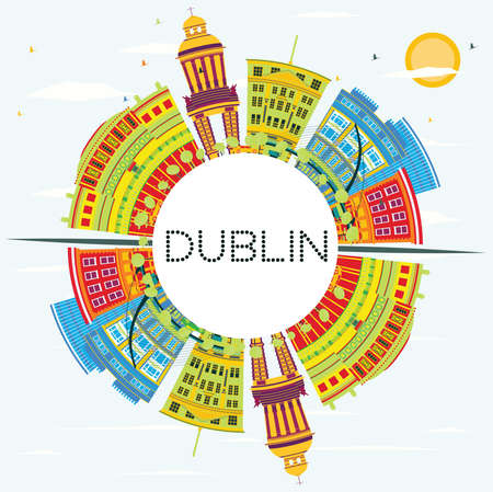 Dublin Skyline with Color Buildings, Blue Sky and Copy Space. Vector Illustration. Business Travel and Tourism Concept with Historic Architecture. Image for Presentation and Banner. Illustration