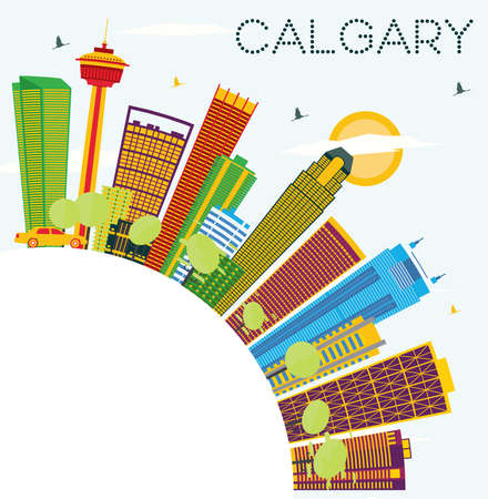 Calgary skyline with color buildings. Illustration