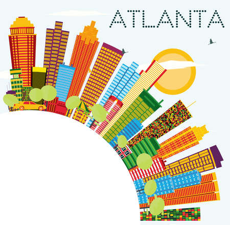 Atlanta Skyline with Color Buildings, Blue Sky and Copy Space. Vector Illustration. Business Travel and Tourism Concept with Modern Architecture. Ilustração