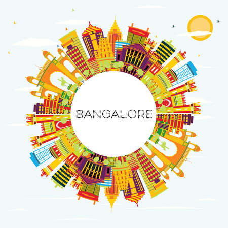 Bangalore Skyline with Color Buildings, Blue Sky and Copy Space. Vector Illustration. Business Travel and Tourism Concept with Historic Architecture. Illustration