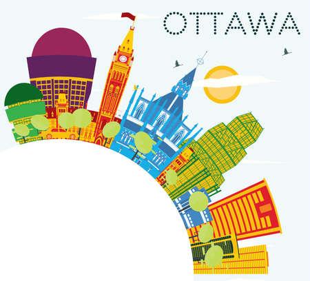 Ottawa Skyline mit Farbe Gebäude, blauer Himmel und Textfreiraum. Vektor-Illustration. Geschäftsreise- und Tourismuskonzept mit moderner Architektur. Standard-Bild - 86086921