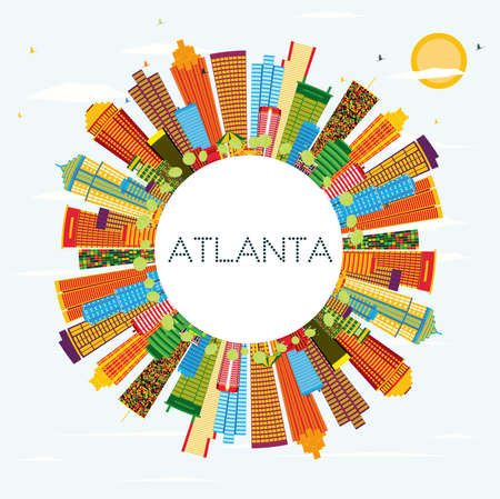 Atlanta Skyline with Color Buildings, Blue Sky and Copy Space. Vector Illustration. Business Travel and Tourism Concept with Modern Architecture. Illustration