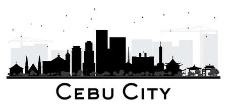 Cebu City skyline black and white silhouette. Vector illustration. Simple flat concept for tourism presentation, banner, placard or web site. Business travel concept. Cityscape with landmarks. Illusztráció