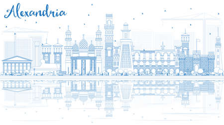 Outline Alexandria Skyline with Blue Buildings and Reflections. Vector Illustration. Business Travel and Tourism Concept with Historic Architecture. Image for Presentation Banner Placard. Illustration