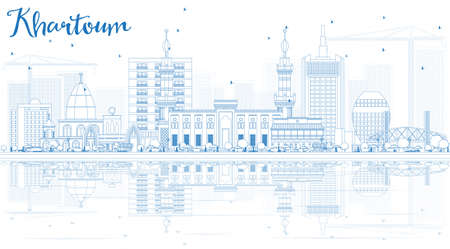 Overzicht Skyline van Khartoem met blauwe gebouwen en reflecties. Vector illustratie. Zakelijk reis- en toerismeconcept. Afbeelding voor presentatie Banner Aanplakbiljet en website.