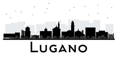 Lugano Switzerland skyline black and white silhouette. Vector illustration. Simple flat concept for tourism presentation, banner, placard or web site. Cityscape with landmarks.