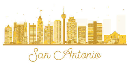San Antonio City skyline golden silhouette. Vector illustration. Simple flat concept for tourism presentation, banner, placard or web site. Cityscape with landmarks.