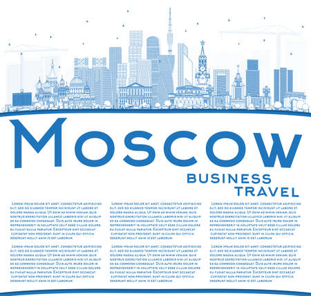 Outline Moscow Russia Skyline with Blue Buildings and Copy Space. Vector Illustration. Business Travel and Tourism Illustration with Modern Architecture.