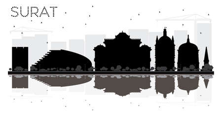 Surat City skyline black and white silhouette with reflections. Vector illustration. Simple flat concept for tourism presentation, banner, placard or web site. Business travel concept. Cityscape with landmarks
