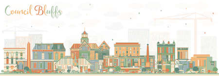 Council Bluffs Iowa Skyline with Color Buildings. Vector Illustration. Business Travel and Tourism Illustration with Historic Architecture.