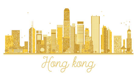 Hong Kong China City skyline golden silhouette. Vector illustration.