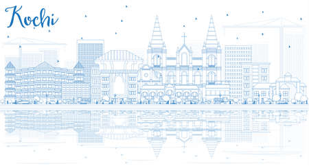 Outline Kochi Skyline with Blue Buildings and Reflections. Vector Illustration. Business Travel and Tourism Concept with Historic Architecture. Image for Presentation Banner Placard and Web Site.