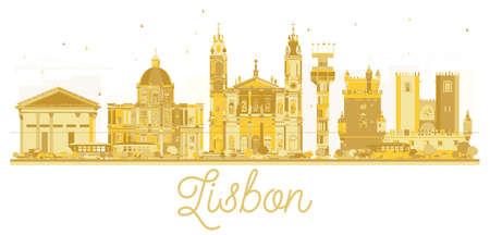 Lisbon City skyline golden silhouette. Vector illustration. Cityscape with landmarks.