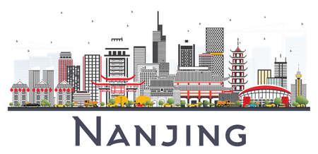 Nanjing China Skyline mit den grauen Gebäuden getrennt auf weißem Hintergrund. Vektor-Illustration. Geschäftsreise-und Tourismus-Illustration mit moderner Architektur. Standard-Bild - 87052324