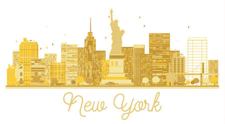 New York City skyline golden silhouette. Vector illustration.