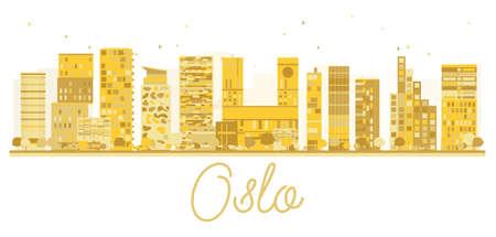 oslo: Oslo City skyline golden silhouette. Vector illustration. Cityscape with famous landmarks.