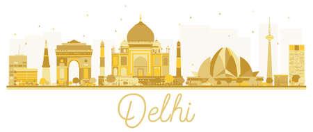 Delhi City skyline golden silhouette Vector illustration. Simple flat concept for tourism presentation, banner, placard or web site for Business travel concept.