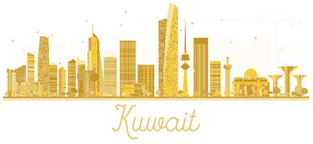 Kuwait City skyline golden silhouette isolated on white background. Vector illustration. Simple flat concept for tourism presentation, banner, placard or web site for  Business travel concept. Illustration