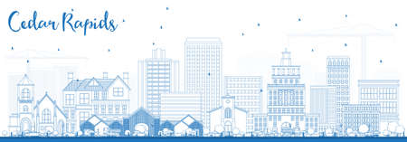 Outline Cedar Rapids Iowa Skyline with Blue Buildings. Vector Illustration. Business Travel and Tourism Illustration with Historic Architecture. 向量圖像