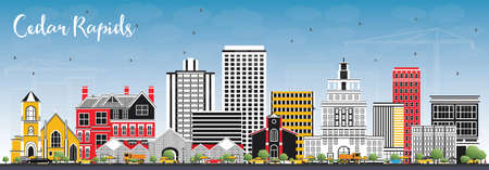Cedar Rapids Iowa Skyline with Color Buildings and Blue Sky. Vector Illustration. Business Travel and Tourism Illustration with Historic Architecture. 向量圖像