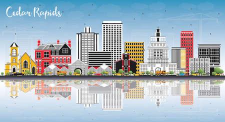 色の建物、青空の反射とシーダー ラピッズ アイオワ州スカイライン。ベクトルの図。ビジネス旅行や歴史的建造物を観光図。