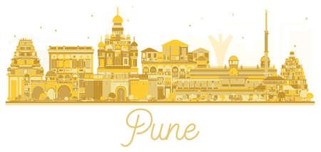 Pune skyline golden silhouette. Vector illustration. Cityscape with famous landmarks.