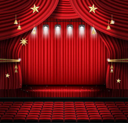Red Stage Curtain with Seats and Spotlights. Vector illustration. Theater, Opera or Cinema Scene. Light on a Floor.