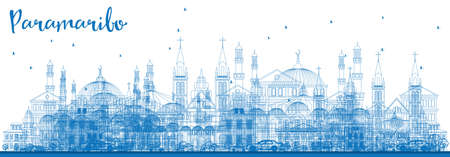 voyage: Outline Paramaribo skyline with blue buildings.