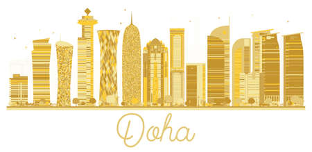 A Doha City skyline golden silhouette on a white background. Illustration