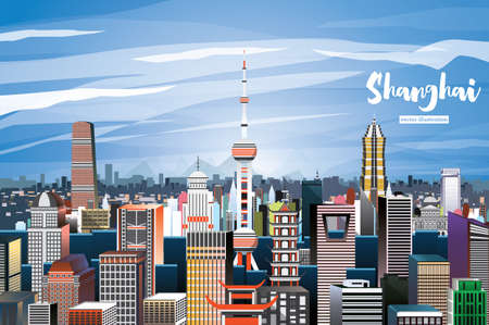 Shanghai China City skyline vector illustration.