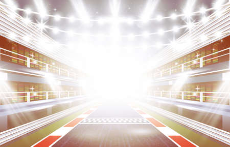 f1: Race Track Arena with Spotlights and Finish Line. Vector Illustration. Illustration