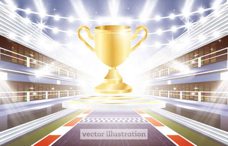f1: Race Track Arena with Spotlights, Finish Line and Golden Cup. Vector Illustration.