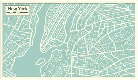 New York USA map in retro style illustration.