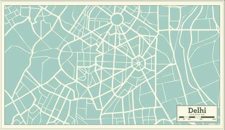 Delhi India kaart in retro stijl illustratie.