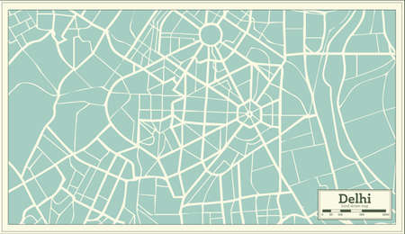 Delhi India map in retro style illustration.
